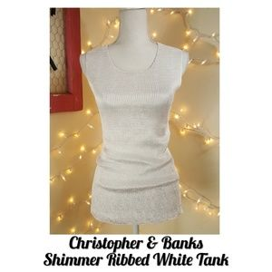 🆕️White Shimmer Ribbed Tank Top